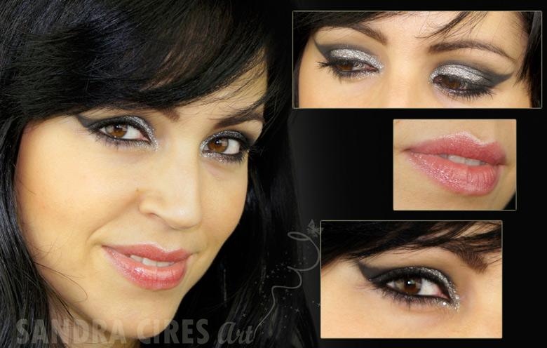 Maquillaje Negro Y Plateado Sandra Cires Art - Maquillaje-negro